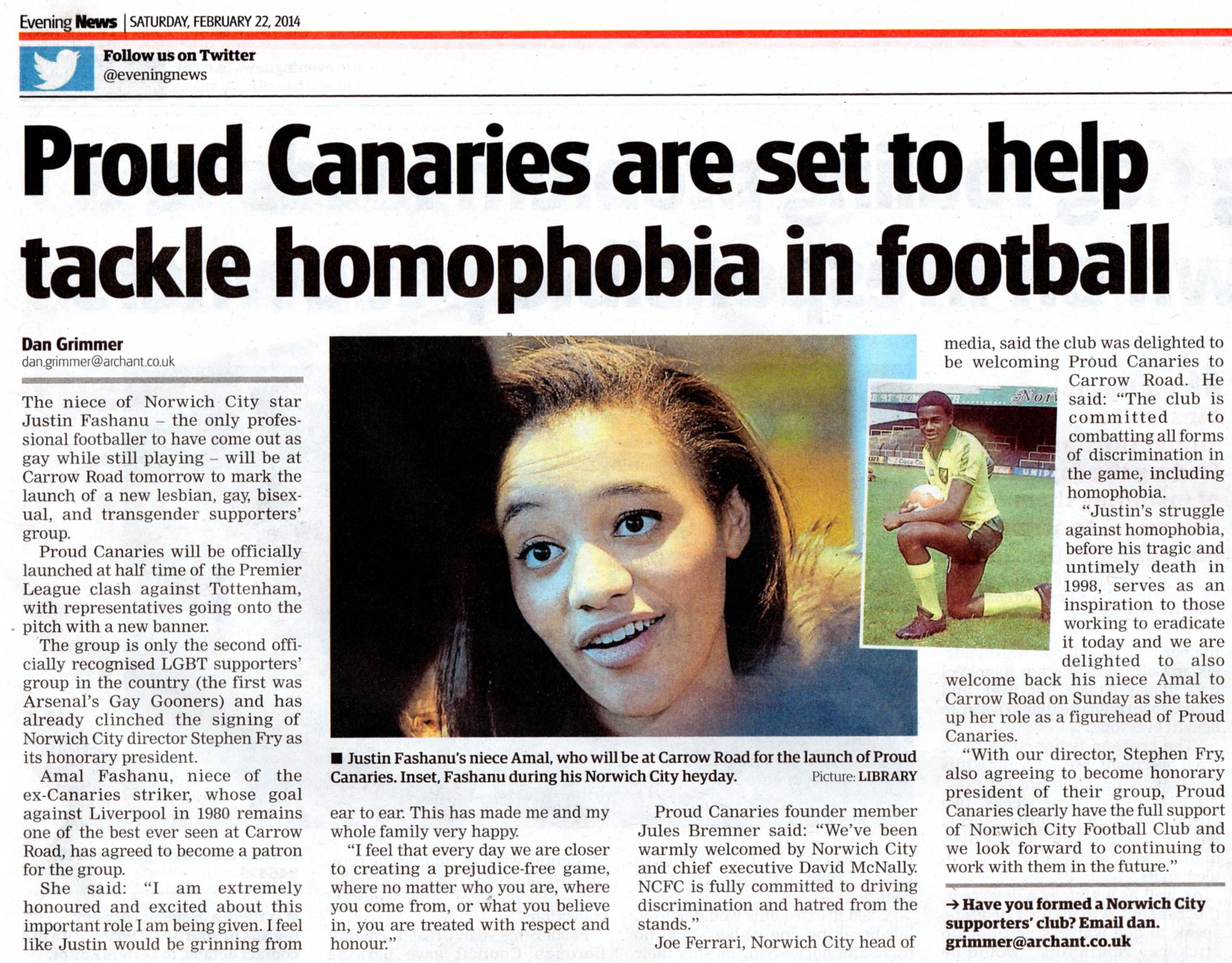 Proud canaries evening news feb 2014